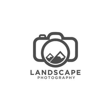 Fotografia di paesaggio logo design template vettoriale eps10