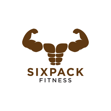 Sixpack belly and strong muscle logo design template vector 矢量图像