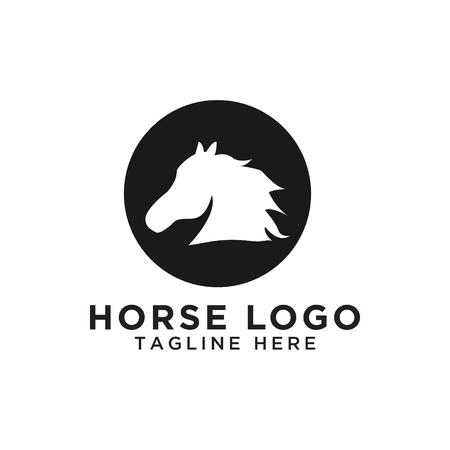 Illustration of circle horse silhouette logo design template vector