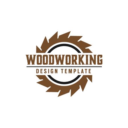 Element wektora projektowania logo narzędzia do obróbki drewna na białym tle