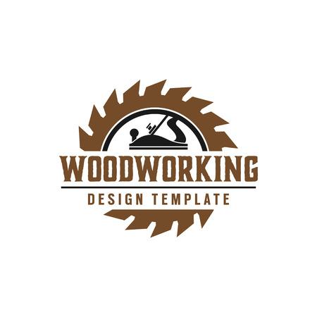 Elemento di vettore del modello di progettazione di logo dell'ingranaggio di lavorazione del legno isolato