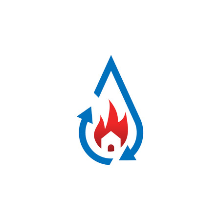 Water drop restoration from house buning logo template