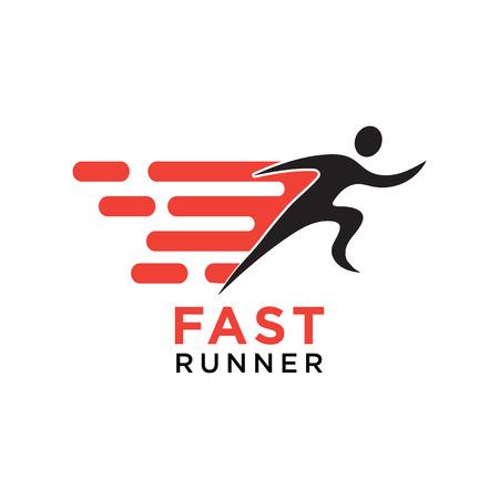 Fast running silhouette logo design template vector