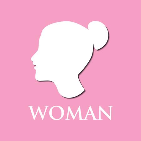 Illustration of woman logo on pink background