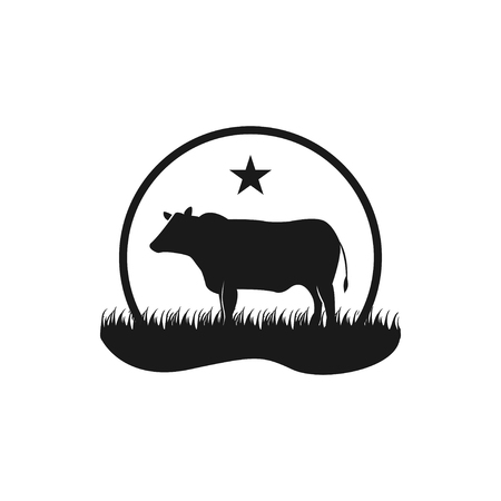 Black angus cattle logo emblem design template vector Vectores