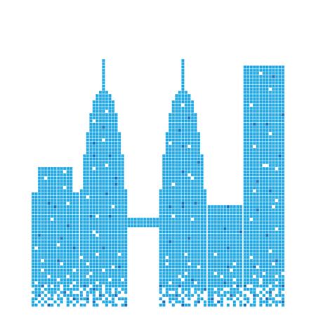 Edificio azul pixelado del diseño de la ilustración de la torre gemela petronas