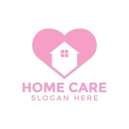 Home care love logo icon design template vector