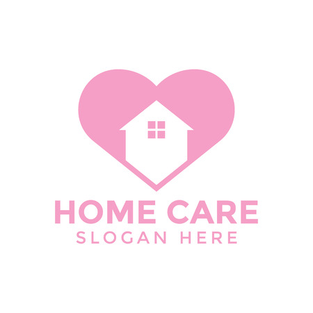 Home care love logo icon design template vector