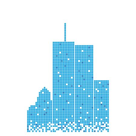 Vector de plantilla de diseño de ilustración de edificio azul pixelado Ilustración de vector