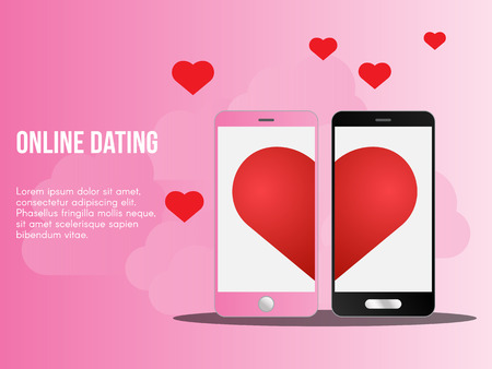 Online dating concept. Ready to use vector illustration. Suitable for background, wallpaper, landing page, web, banner, card and other creative work. 일러스트
