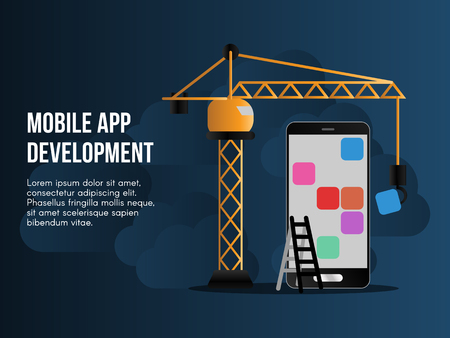 Mobile app development concept. Ready to use vector illustration. Suitable for background, Wallpaper, landing page, web, banner, card and other creative work.