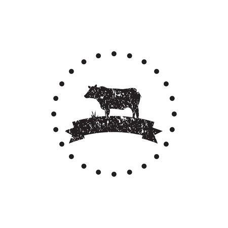 Vintage black cow logo icon design template vector