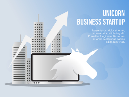 Unicorn business startup concept illustration