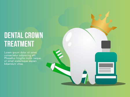 Dental crown treatment concept illustration Ilustracja