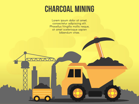 Charcoal mining concept illustration Illustration