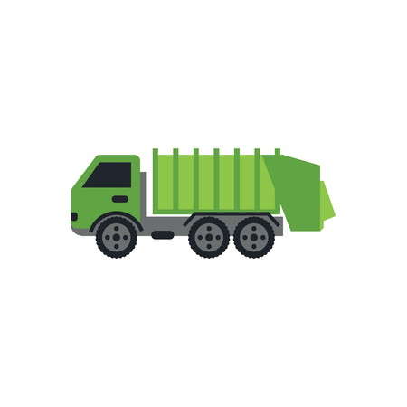 Green garbage truck graphic design template vector illustration