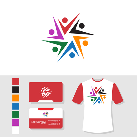 Community logo with business card and t shirt mockup
