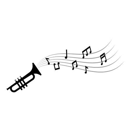 Notes de musique et vecteur de modèle de conception graphique de trompette
