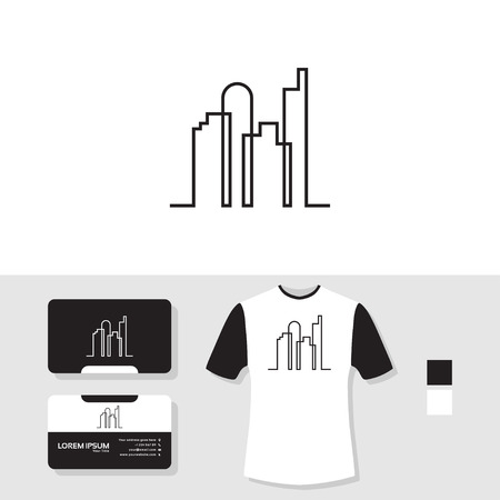 Real estate logo with business card and t shirt mockup