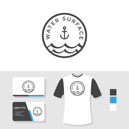 Water surface logo with business card and t shirt mockup Illustration