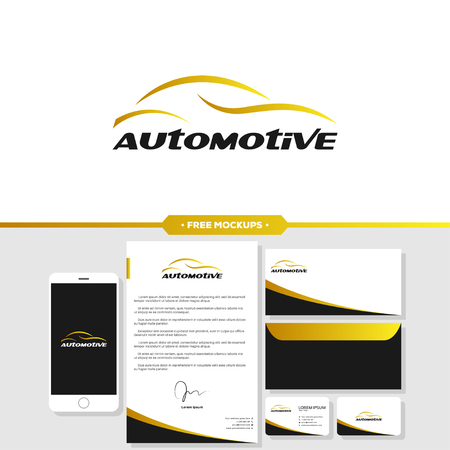 Automotive car logo branding with business card, letterhead, envelope mockup design. Illusztráció