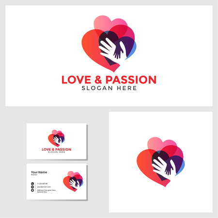 Love passion logo template with business card design mockup