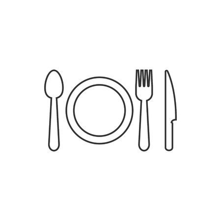Cutlery icon design template vector isolated  イラスト・ベクター素材