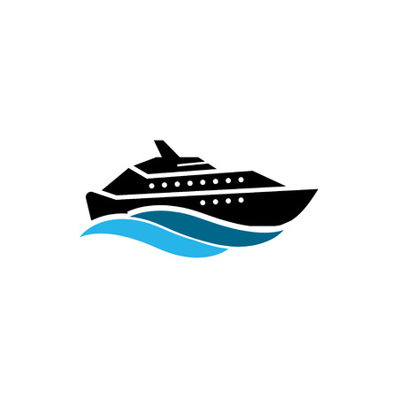 Yacht icon design template vector isolated illustration