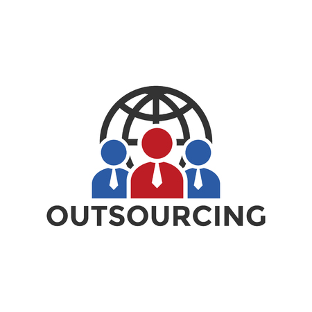 Outsourcing icon design template vector isolated illustration
