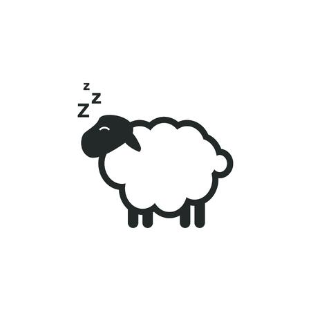 Illustrazione isolata vettore del modello di progettazione grafica del sonno delle pecore