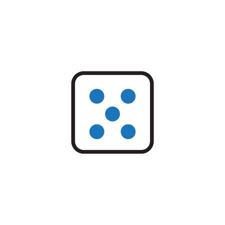 Plantilla de diseño gráfico de icono de dados Ilustración de vector