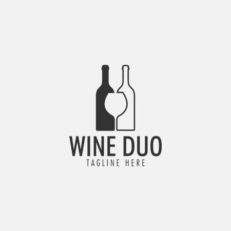 Wine duo logo design template vector isolated