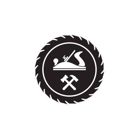 Szablon projektu logo narzędzi do obróbki drewna na białym tle
