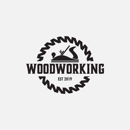 Woodworking logo design template vector isolated illustration