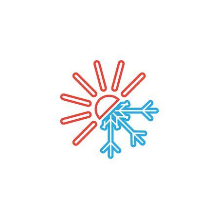 Hot and cold icon graphic design template Vektoros illusztráció