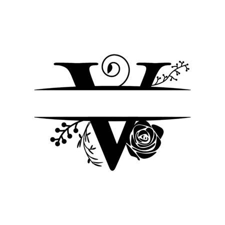 Decorative monogram split letter graphic design template isolated 矢量图像