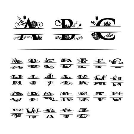Modello decorativo di disegno grafico della lettera divisa del monogramma isolato
