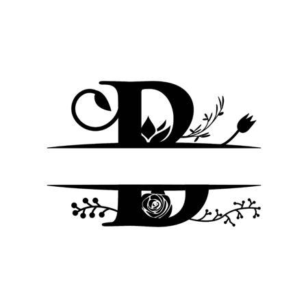 Decorative monogram split letter graphic design template isolated Illustration