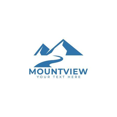 Ilustración aislada del vector de la plantilla del diseño del logotipo de la montaña