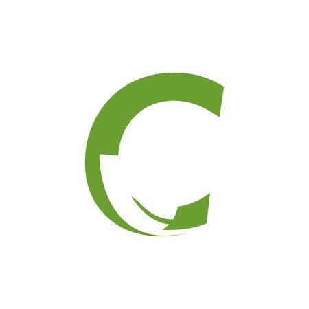 Alphabet leaf graphic design template vector isolated illustration Çizim