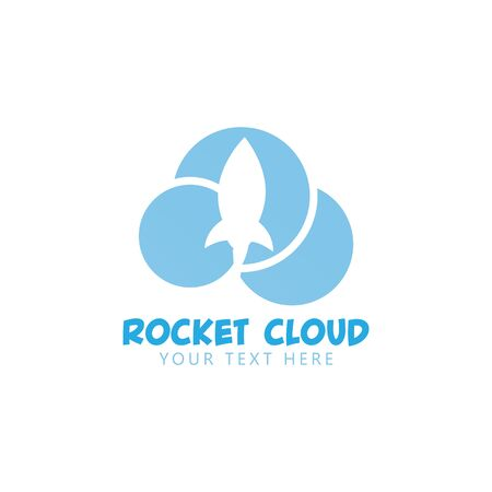 Rocket cloud graphic design template vector isolated Çizim