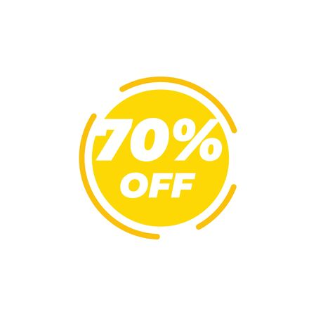 70 percent off sale label design template vector Illusztráció