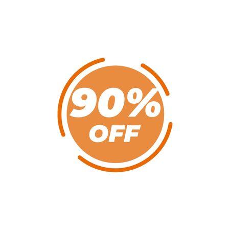 90 percent off sale label design template vector Illusztráció
