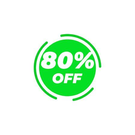 80 percent off sale label design template vector