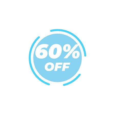 60 percent off sale label design template vector