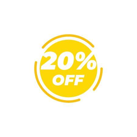 20 percent off sale label design template vector Illusztráció
