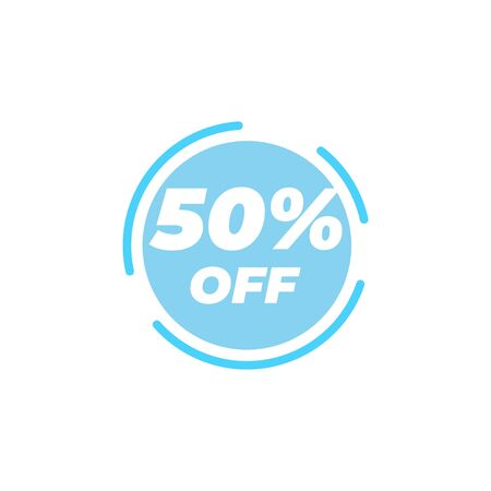 50 percent off sale label design template vector