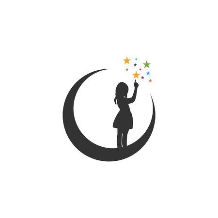 Lune nuit modèle de conception graphique vecteur isolé