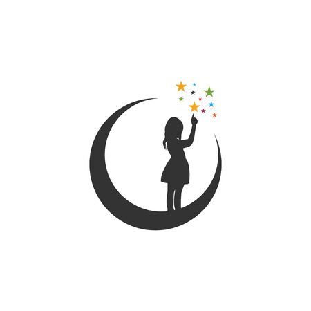 Moon night graphic design template vector isolated