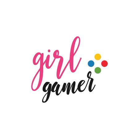 Game quote lettering typography. Girl gamer Ilustração